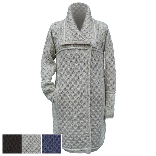100% irlandés lana de merino botón único Abrigo por Westend chapado en–tamaño pequeño Oatmeal