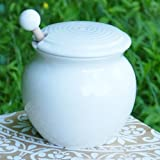honey pots dippers - Tumbleweed - Honey Pot - White Porcelain Honey Jar With Lid - Wooden Dipper Included - Perfect Gift For Cooks