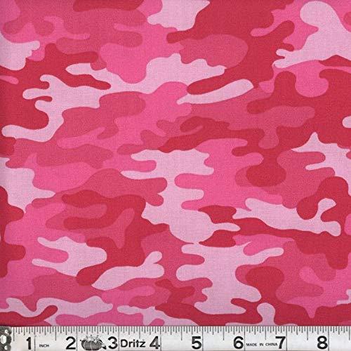 Kickin Camo Hot Pink Cotton Fabric by The Yard - Pink Camo Fabric
