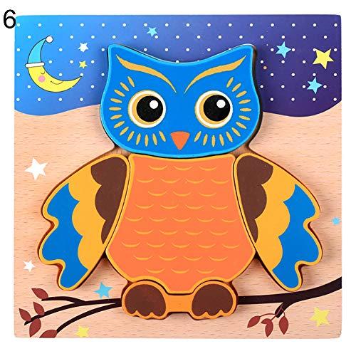 Dds5391 Cartoon Bear Car Animal Wooden 3D Chunky Jigsaw Puzzle Board Education Kids Toy Owl^ ()