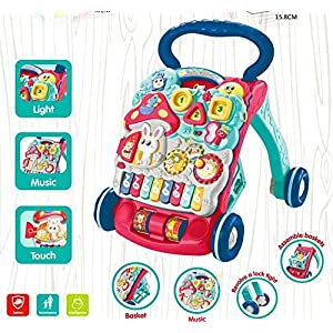 Sit-Stop Learning Walker, Multifunction Baby Educational Push Toys, Drawing Board, Lights and Music, Baby Music Toys…