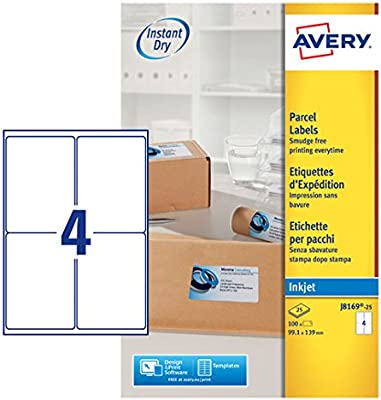 Avery Self Adhesive Parcel Shipping Labels, Inkjet Printers, 4 Labels Per  A4 sheet, 100 labels, QuickDRY (J8169)