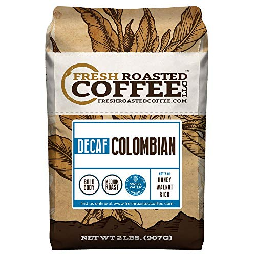 100% Colombian SWP Decaf Coffee, Whole Bean, Swiss Water Processed Decaf Coffee, Fresh Roasted Coffee LLC. (2 lb.)