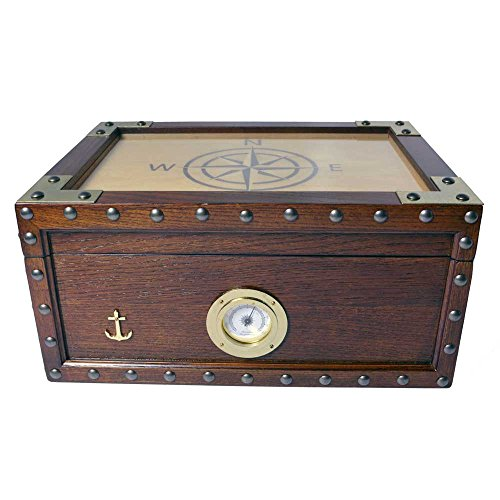 Humidor Supreme Maiden Voyage Cigar Humidor, 1 Glass Hygrometer, 1 Rectangle Humidifier, Spanish Cedar Tray with Divider, Holds up to 100 Cigars
