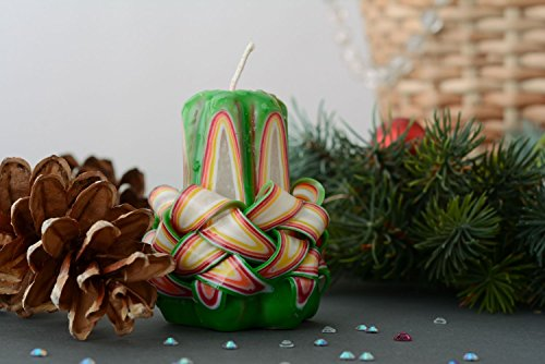 Green Christmas Candle by Handmade