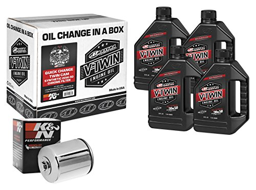 Chrome Engine Kit - Maxima Racing Oils 90-119014C Chrome Engine Oil Change Kit (Quick Change Twin Cam Synthetic 20W-50 Filter), 4 quart, 1 Pack