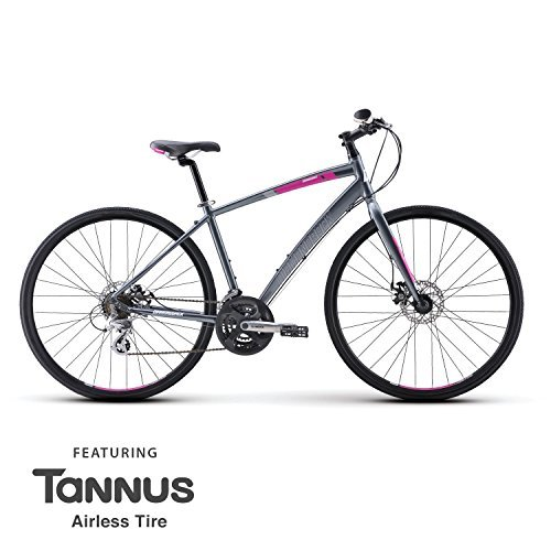 Womens Diamondback Clarity 2 Hybrid Bike - Adult Mountain and Road Bicycle with Light Aluminum Frame Disc Brakes and Tannus Flat Proof - Overdrive Sunglasses Electric