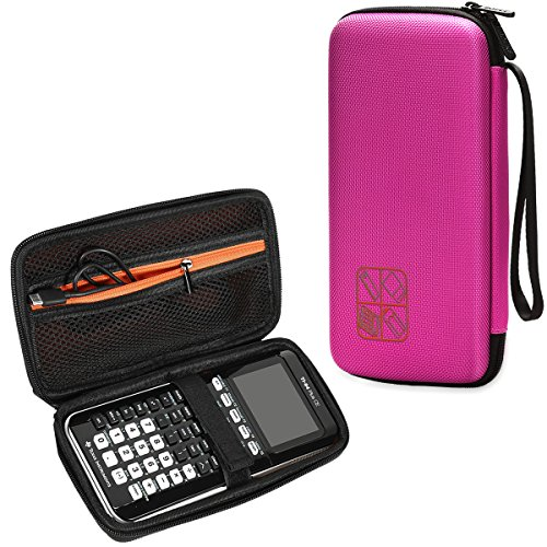 BOVKE for Graphing Calculator Texas Instruments TI-84/Plus CE Hard EVA Shockproof Carrying Case Storage Travel Case Bag Protective Pouch Box,Pink