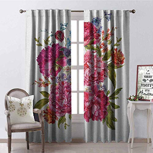 (Gloria Johnson Shabby Chic Blackout Curtain Gentle Summer Flora Hyacinths BlackBerry and Peonies Victorian Style Vegetation 2 Panel Sets W100 x L84 Inch Multicolor)