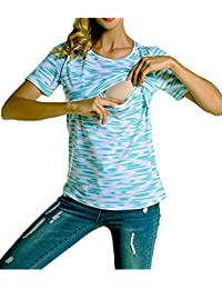 Fashion Women Short Sleeve Double Layer Maternity Nursing Tops Shirts For Breastfeeding