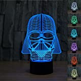 JFL Protect 3d Glow LED Lamp - 7 Colors Change Kids Room Art Sculpture Lights Produces Unique Lighting Effects and 3d Visualization - Amazing Optical Illusion (Darth Vader)