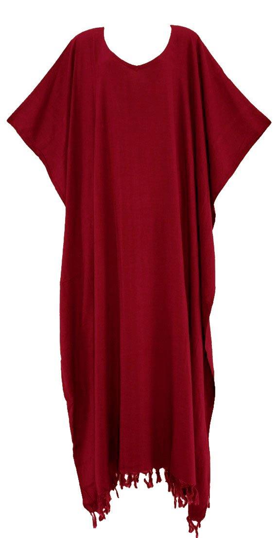 Beautybatik Maroon Caftan Kaftan Loungewear Maxi Long Dress 3X