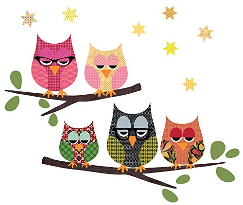 Owl Wall Decals on a Branch Eco-Friendly Repositionable Matte Wall -