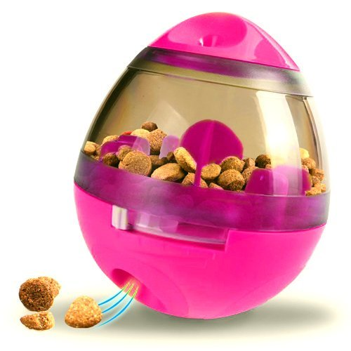 Samapet Pets IQ Treating&Training Ball Interactive Game Mental Stimulation Food Dispensing for Dogs&Cats Hourglass Toy,Slow Feed Bowl,Tumbler Design(Pink)