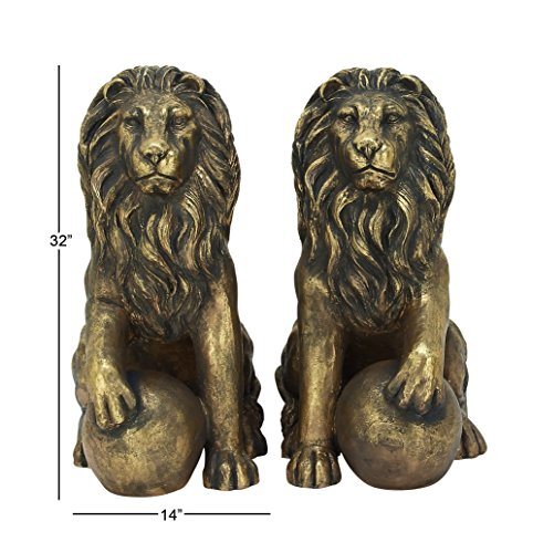Benzara 77157 Polystone Lions Pair 24''W, 32''H, Gold Animal Statue by Benzara (Image #5)