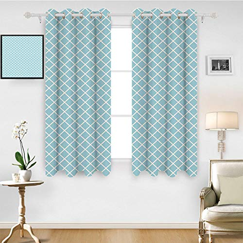 SATVSHOP Solid Ring top Blackout Window Curtains/Drapes Two Panels - 72W x 96L Inch- Retro Pastel Colored Squar and Lin Checked Pattern Diagonal Geometrical Tile Dign Sky Blue White.