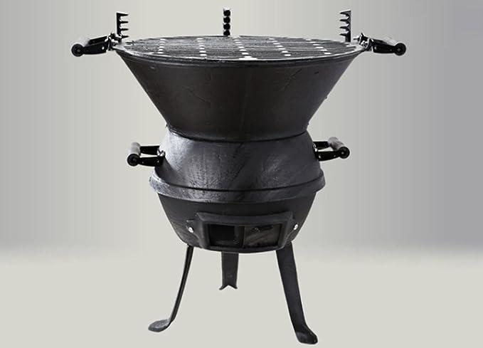 Barbacoa, Hierro Fundido Portátil Barbacoa de carbón Camping Exterior BBQ Utensil Retro - Diámetro 37cm: Amazon.es: Hogar