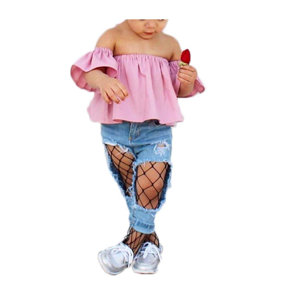1 Piar of Kids Girls Hollow Out Fishnet Pantyhose Tights Black (Big Net, Black-2)