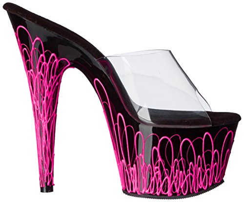 B Sandal Pink Clear Platform Ado701uvl NPN C Dress Women's Black Pleaser Neon xCwgqH0tx