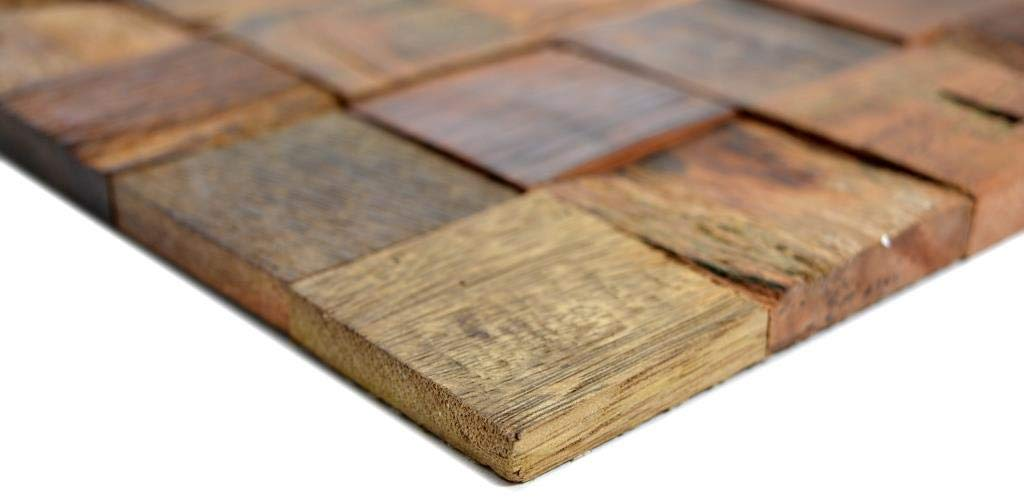 Holz Mosaik boot Old Wood Holz FSC Wand K/üche Bad Fliesenspiegel|WB160-23|1Matte