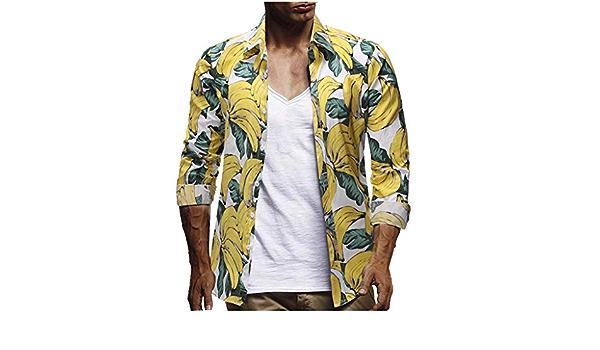 YEBIRAL Polos Manga Larga Camisetas Hawaiana Hombre Cuello de ...