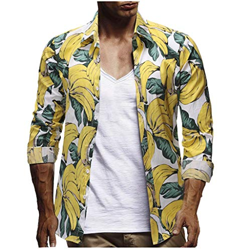 JJLIKER Men's Button Down Long Sleeve Hawaiian Shirt Floral Print Tops Summer Holiday Beach Party Aloha Tee Shirts