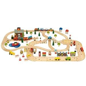 Bigjigs Roadway BJR015 - Escenario de madera con carretera y vías de tren [importado de Alemania]
