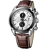 MEGIR Mens Military Watches Brown Casual Leather Strap Chronograph Date Quartz Wrist Watch