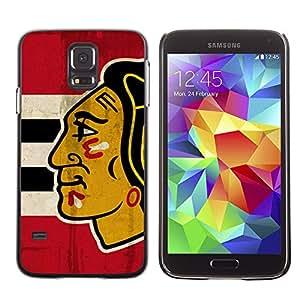 CashCase @ FOR Samsung Galaxy S5 Chicago Blackhawk Hockey Doble capa de armadura de la cubierta del caso del protector