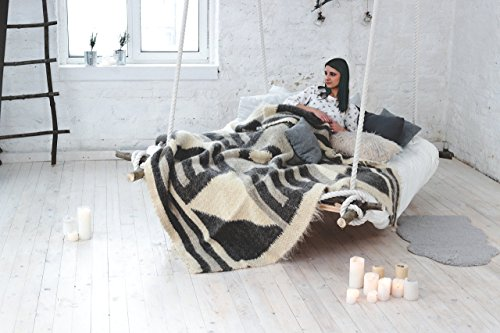 Grey Wool Throw Blanket Queen Size Scandinavian Wool Bedding Warm Bed Blanket Sofa Coverlet