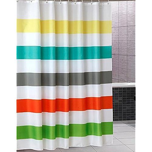 Uphome Colorful Rainbow Cross Stripe Pattern Bathroom Shower Curtain