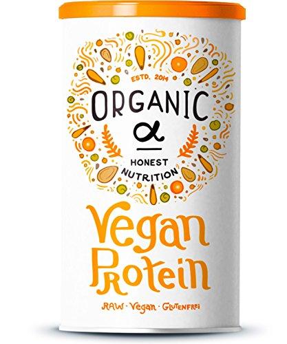 Organic Alpha - Vegan Protein - Reis-, Hanf-, Soja-, Erbsen-, Chia-, Sonnenblumen- und Kürbiskernprotein + Kokosmilch, Superfoods und Verdauungsenzymen - 600 Gramm Pulver mit natürlichem Vanillegeschmack