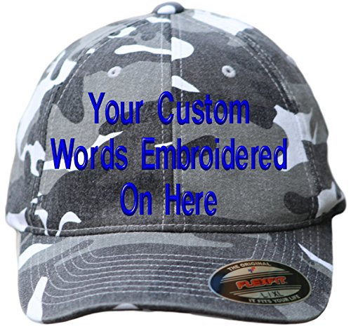 - Custom Hat Flexfit 6977CA Embroidered. Your Own Text Curved Bill (L/XL, 6977CA Washed Silver Camo)