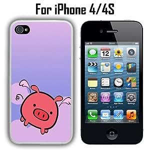 Cute Flying Pig Custom Case/ Cover/Skin *NEW* Case for Apple iPhone 4/4S - White - Plastic Case (Ships from CA) Custom Protective Case , Design Case-ATT Verizon T-mobile Sprint ,Friendly Packaging - Slim Case by icecream design