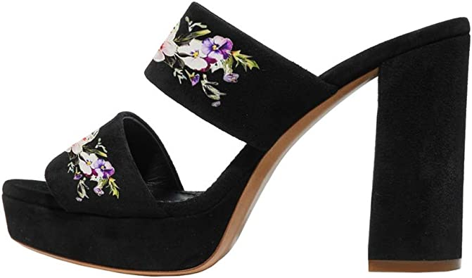 Sandals Shoes Lady Printed Peep Toe Chunky High Heel Buckle Slip On Open Toe