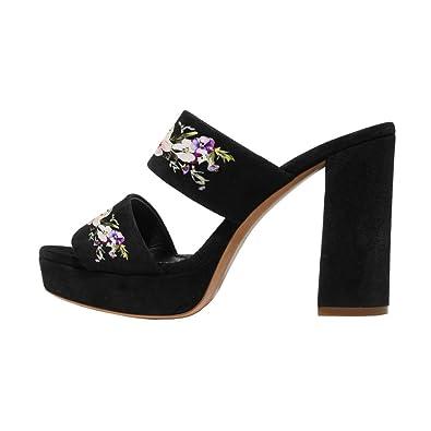 4e87fb3b058 YDN Women s Chunky High Heel Mules Floral Print Platform Sandals Open Toe  Slip On Slide Shoes