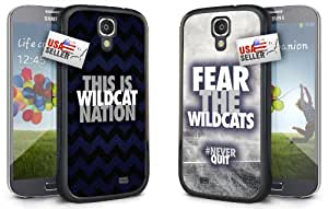 """This is Wildcat Nation and """"Fear the Wildcats"""" Chevron Sports Black Plastic Cover Case COMBO TWO PACK for Samsung Galaxy S4"""