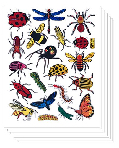 Insect Bug Butterfly Scrapbook Stickers for Kids (10 sheets)