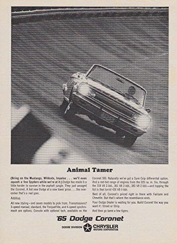 Animal Tamer - Bring on Mustangs Wildcats etc Dodge Coronet Convertible ad 1965