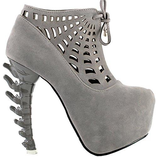 Show Story Punk Black/Grey Spider Web Lace-Up Platform Bone Heel Ankle Boot Bootie,LF80643 Grey