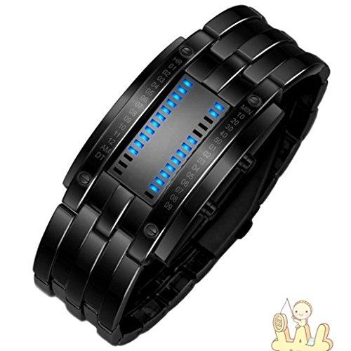 IEason,Luxury Mens Stainless Steel Date Digital LED Bracelet Sport Watches (Black)