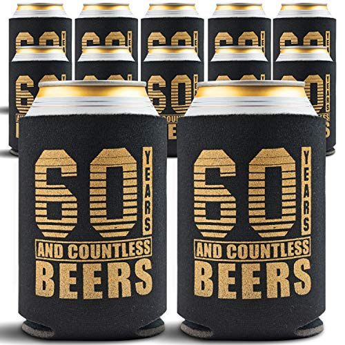 60th Birthday Favor Ideas (60th Birthday Decorations for Men - 12-Pack Party Can Coolers - 60th Birthday Gifts for Women - 60th Birthday Gift Ideas Beer Sleeve, 12 Insulated Sleeves, 60th Birthday Gifts for)