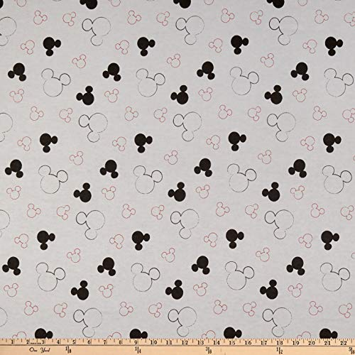 Springs Textiles Disney Mickey Mouse Flannel Head Toss Gray Fabric by The Yard (Disney Flannel Fabric)