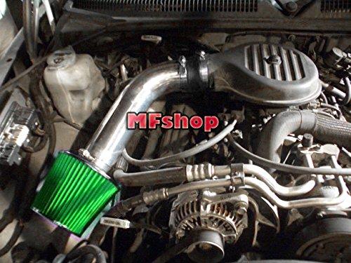 (1997 1998 1999 2000 2001 2002 2003 Dodge Dakota 3.2L 3.9L 5.2L 5.9L Air Intake Filter Kit System (Black Accessories with Green Filter))