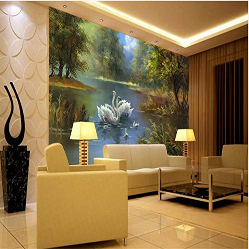 (Shuangklei Large - Scale Custom Wallpaper Swan Lake Oil Painting Paper of Wall for Room 3D-150X120Cm)