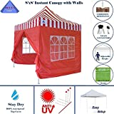 8'x8′ Red Stripe – EZ Pop up Canopy Party Tent Instant Gazebo 100% Waterproof Top with 4 Removable Sides – By DELTA Canopies Review