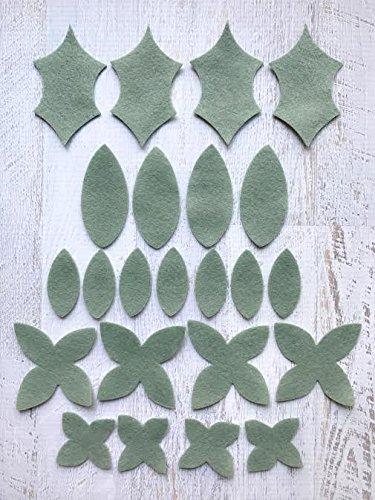 18 Flowers & 24 leaves – Wool Felt Flowers – Pastel Blush DIY Christmas Flower Embellishment – Wreaths, Garlands, Headbands,