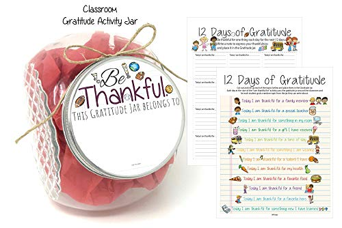 L&P Designs 12 Days of Gratitude Jar for Childrens Classroom Fun Activity | Be Thankful | Im Thankful for ()
