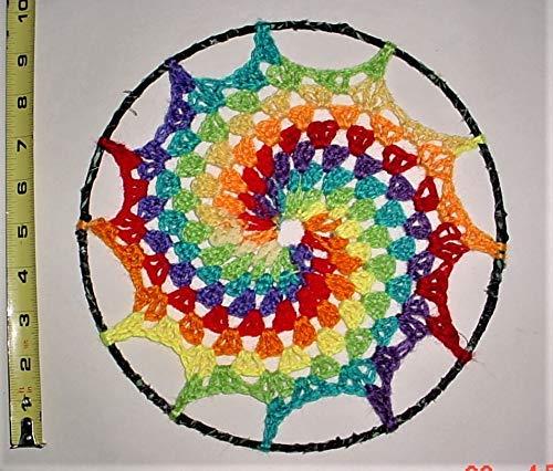 Rainbow Spiral crochet dreamcatcher, mandala, home decor