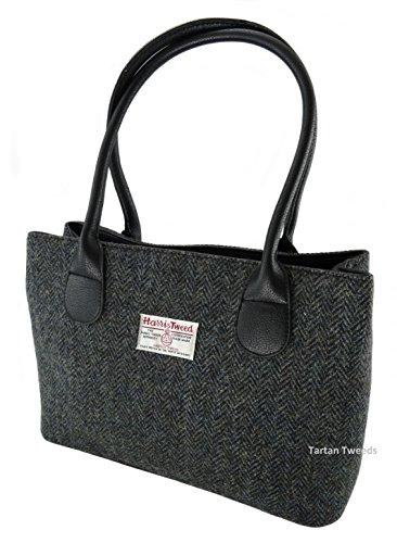 Harris Tweed LB1003COL1 Borsa da donna in tinta unita, 100% lana, colore: grigio antracite